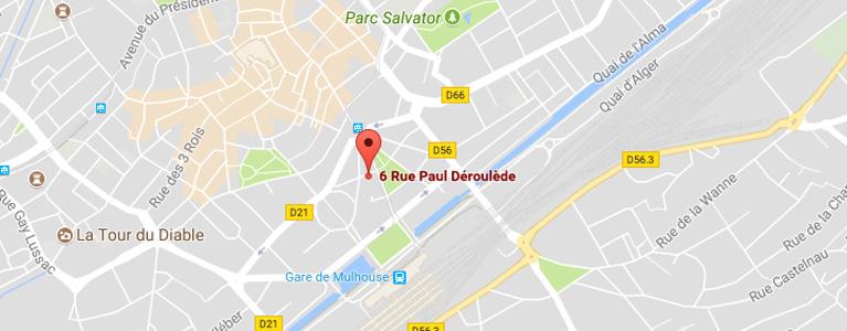 plan situant l'école de conduite larger à mulhouse centre ville wilson
