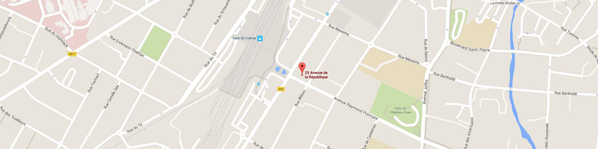 Plan pour géolocaliser l'auto-école larger dans Colmar