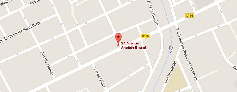 Plan pour situer l'auto-école larger à Mulhouse quartier Briand