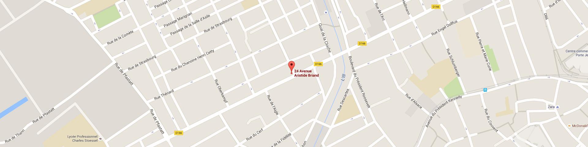Plan pour géolocaliser l'auto-école larger dans Mulhouse quartier Briand