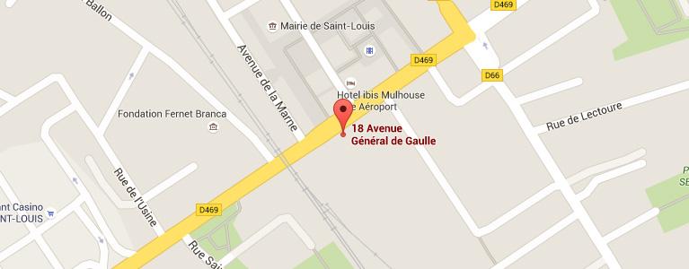 Plan pour situer l'auto-école larger à Saint-Louis