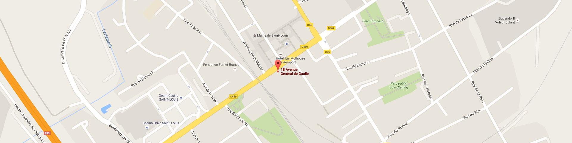 Plan pour géolocaliser l'auto-école larger dans Saint-Louis