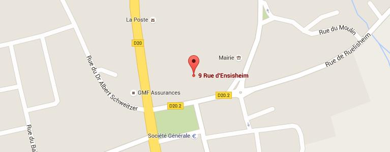 Plan pour situer l'auto-école larger à Wittenheim