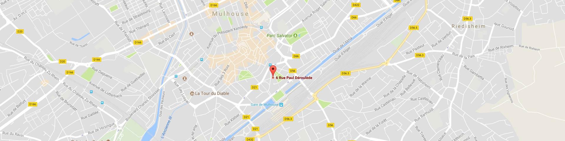 carte situant l'école de conduite larger à mulhouse centre ville gare